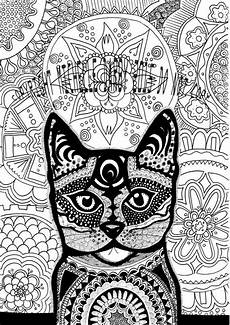 cat mandala instant colouring page
