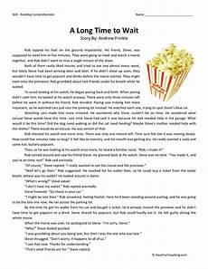 comprehension worksheets for 3rd grade 15636 a time to wait reading comprehension worksheet teaching