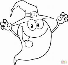 smiling ghost coloring page free printable