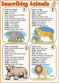 describe animals worksheets 13839 describing animals 1 students write a description using the factfile animals