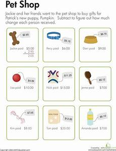 money worksheets working out change 2276 change at the pet shop pet shop worksheets and math