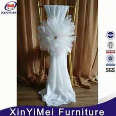 china elegant fancy white chiffon organza flower chair sashes cheap wedding chair covers china