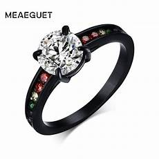 aliexpress com buy meaeguet black cz rainbow ring for wedding engagement rings band