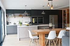 modern kitchen installation in london dark grey matt and concrete effect