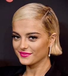 bebe rexha side parted straight cut short hairstyles lookbook stylebistro
