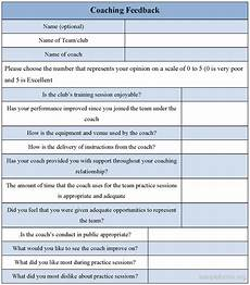 coaching feedback form sle forms