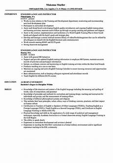 english language instructor resume sles velvet