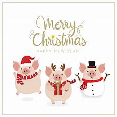 premium vector merry christmas greeting card with cute pig