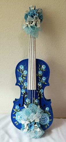 1 4 violin blue shabby chic lace painted flowers ebay