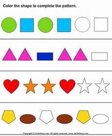color the shapes to continue patterns worksheet turtle diary