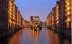 Hamburg River Cityscape City Lights Architecture