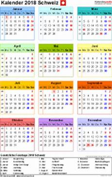 kalender 2018 schweiz zum ausdrucken als pdf