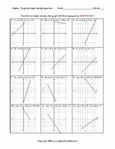 graphing lines in slope intercept form worksheets by algebra funsheets