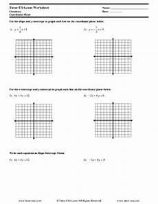 worksheet slope intercept form point slope form lines in a coordinate plane geometry