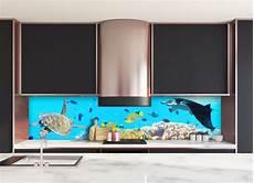 credence cuisine originale deco cr 233 dence bleue fonds marins verre et alu credence