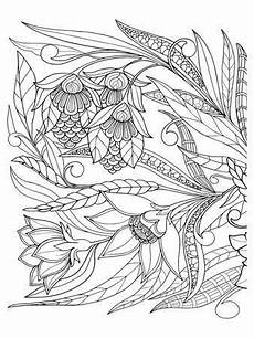 flowers leafs design coloring coloring poster