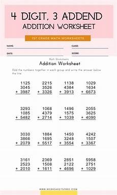 worksheets addition with 4 digit addends 9152 4 digit 3 addend addition worksheet grade 1 worksheets free