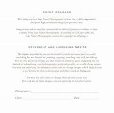 photographer print release form with images