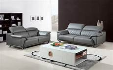 Divani Casa Wolford Modern Grey Leather Sofa Set Sofas