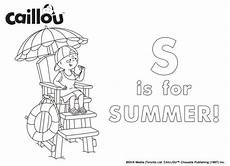 caillou summer coloring sheet caillou activities