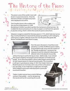 history of the piano music music worksheets piano piano classes