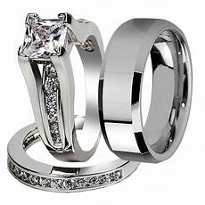 his hers 3 pcs tungsten matching band classic princess cut sterling silver wedding