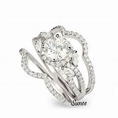 14k white gold sterling silver halo cut wedding