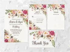 printable wedding invitation suite deer antler pink floral bohemian floral wedding invitation printable pink floral