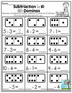 domino subtraction worksheets for kindergarten 10504 april filled learning primeros grados actividades de matematicas