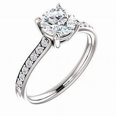 14k white gold no halo simple diamond engagement ring