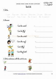 free printable beginner esl pre worksheet 26 verb to can