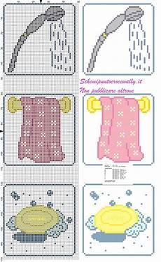 punto croce asciugamani bagno portarotoli bagno asciugamano doccia e sapone schema punto