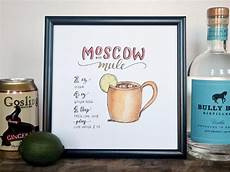 moscow mule cocktail recipe print of original handlettered