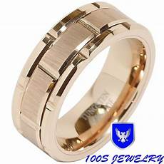 8mm men s tungsten carbide ring wedding band rose gold brick pattern size 8 15 ebay