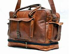 new s genuine leather large vintage duffle travel