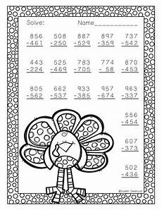 thanksgiving subtraction with regrouping worksheets 10720 free three digit subtraction with regrouping thanksgiving theme 3 nbt 2