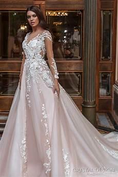 2018 stunning designer a line wedding dresses illusion neckline sheer long sleeves full