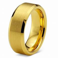 charming jewelers tungsten wedding band ring 8mm for men comfort fit 18k yellow gold