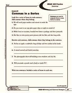 commas in a series worksheet for 5th 8th grade lesson planet