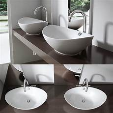 Waschbecken Waschtisch Oval Keramik Aufsatzbecken Bad