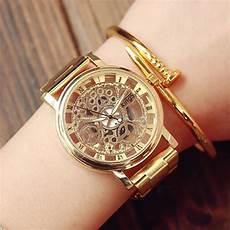 montre femme en or relojes hombre 2017 new stainless steel montre femme large gold geneva