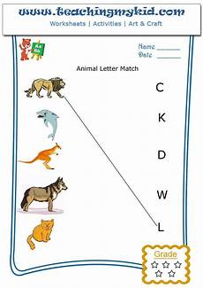 animals phonics worksheets for kindergarten 14220 kindergarten activities match animal with letter of name 4 alphabet worksheets