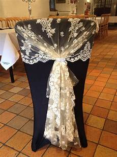 black chair cover with chagne vintage lace hood and