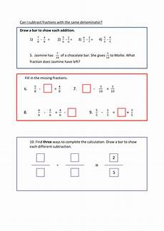 fraction worksheets y3 4177 subtracting fractions same denominator within one whole fluency reasoning and problem solving