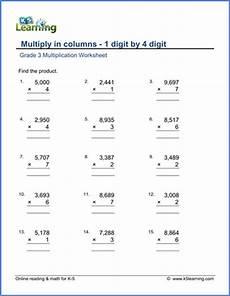 digit multiplication worksheets grade 3 4771 grade 3 math worksheets multiply 1 by 4 digit numbers in columns k5 learning