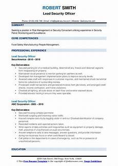 lead security officer resume sles qwikresume