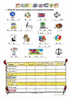 subjects at school and timetables worksheet free esl