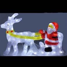 pere noel et renne lumineux en acrylique 48 led