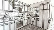 Kitchen Design Drawings by Drawing A Kitchen In Two Point Perspective Timelapse