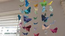 mobile basteln anleitung diy butterfly origami mobile